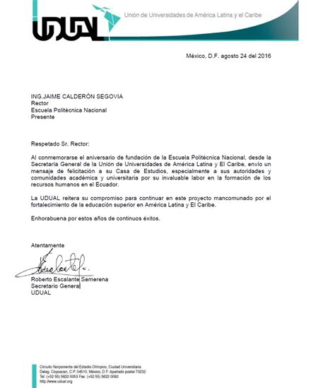 carta felicitacion escuela polit 233 cnica nacional carta de felicitaci 243 n udual