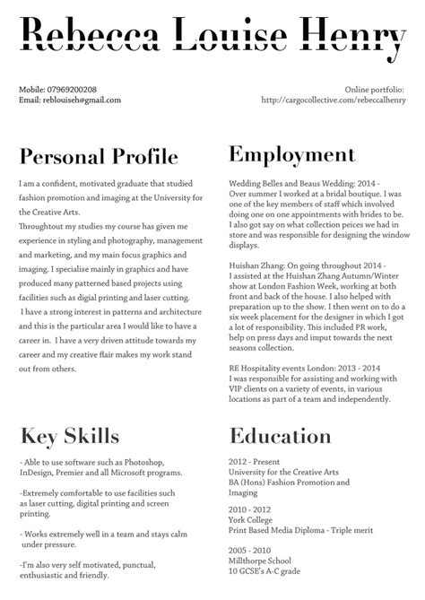 Fashion Resume Examples about me amp cv rebecca louise henry