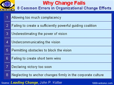 kotter reasons why change fails why change fails by john kotter 8 common errors