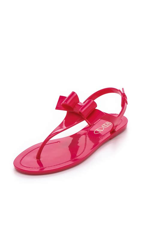 pink jelly sandals valentino bow jelly sandals in pink lyst