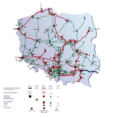 electric grid map map of electricity grid poland national energy