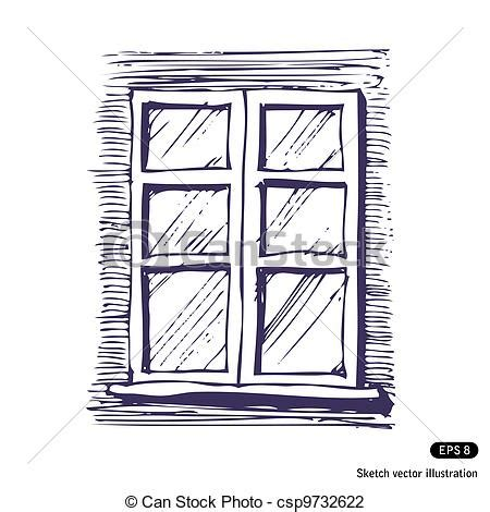 Bow Window Designs vector illustration of window hand drawn vector isolated