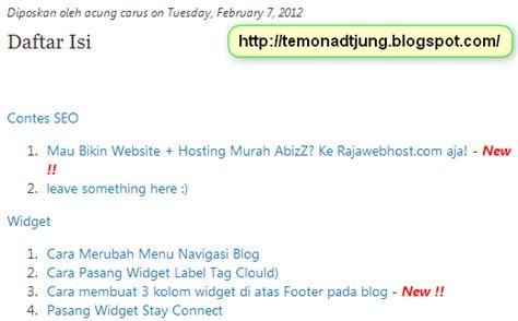 cara membuat daftar isi novel cara membuat daftar isi blog otomatis teknologi informasi