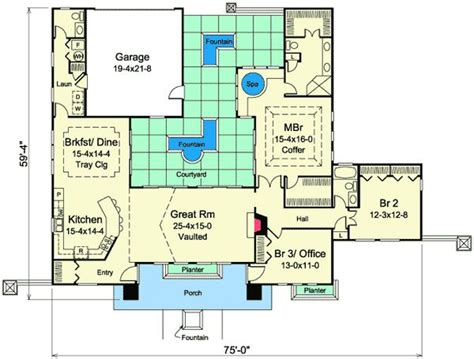 mediterranean floor plans with courtyard mediterranean home plan with central courtyard