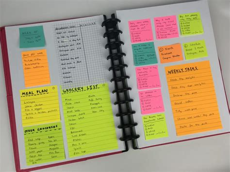 All Day Planner Post It planning the entire week using only sticky notes 52 planners in 52 weeks week 28