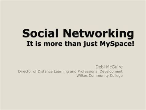 Sleepovers Are More Popular Than Myspace by Ppt Social Networking It Is More Than Just Myspace