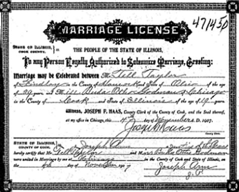 Illinois Marriage Records Free File Tell Marriage License 1907 Jpg