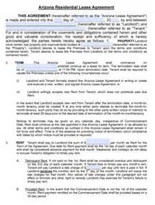 free arizona residential lease agreement pdf word doc