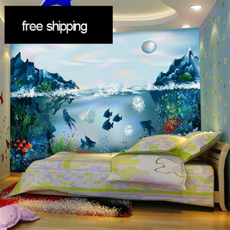aquarium wall mural free shipping the 3d aquarium murals underwater world of children room wallpaper environmental