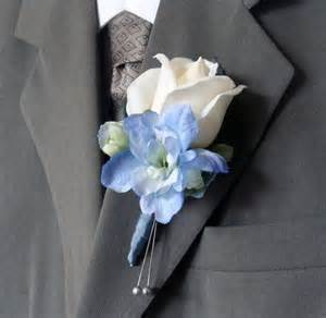 real touch wedding boutonniere for groom groomsmen real touch white with blue