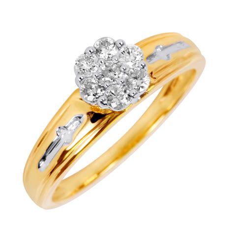 1 3 carat t w engagement ring 14k yellow