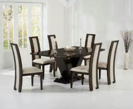 Marble Dining Table And 6 Chairs Valencie 180cm Brown Marble Dining Table Six Chairs