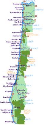 map of coastal cities road map of oregon coast