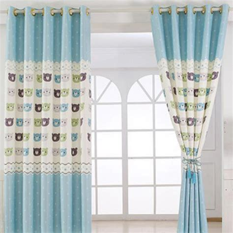 short bay window curtains baby blue animal print polyester insulated short bay