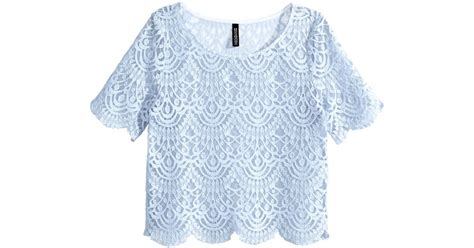 Blue Lace Top lyst h m lace top in blue