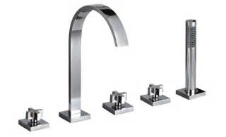 Bath Tap With Shower Head Luxury Cross Head 5 Hole Tap Deck Mounted Bath Shower
