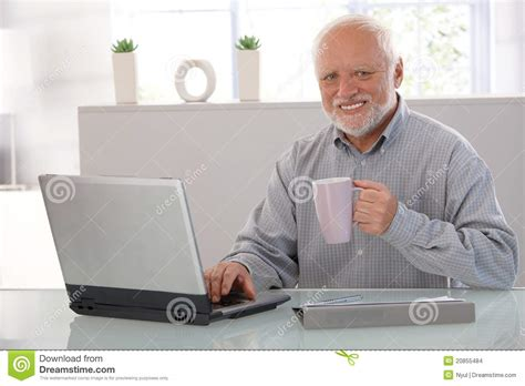 Man On Computer Meme - mature man with computer smiling stock photo image of