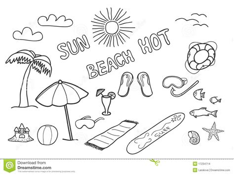 Beach Doodles Stock Images Image 17234714