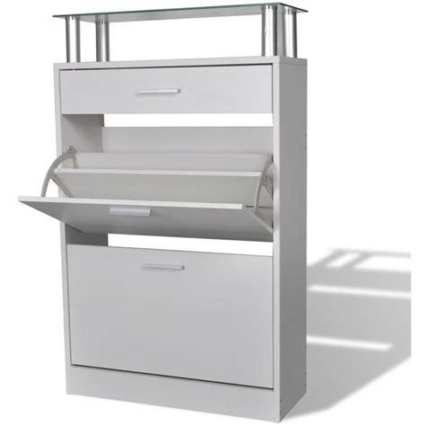 scarpiera con cassetto scarpiera legno bianco con cassetto e mensola vetro sopra