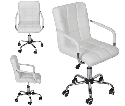 White Modern Office Leather Chair Hydraulic Swivel Desk Chairs White