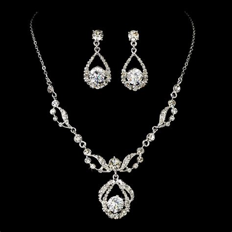 diamante bridal jewelry set silver rhinestone