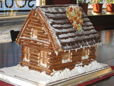 log cabin gingerbread house designs log cabin using pretzels craft ideas pinterest