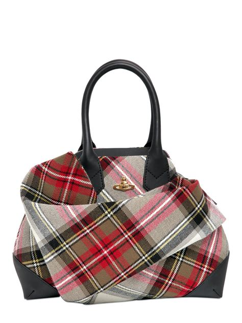 Vivienne Westwoods Label Checked Canvas Handbag by Vivienne Westwood Plaid Cotton Canvas Top Handle Bag In
