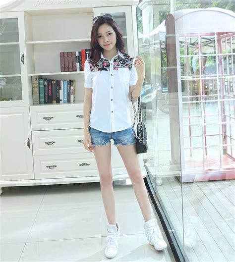 Top Kemeja Putih Fashion Casual Wanita Bagus Murah kemeja wanita putih model terkini model terbaru jual murah import kerja