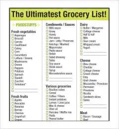 sle grocery list template 9 free documents in word
