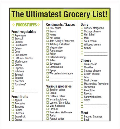 10 Free Printable Grocery List Templates Sle Templates Free Grocery List Template Excel