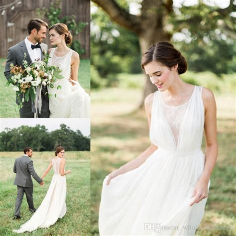 simple white country garden wedding dresses
