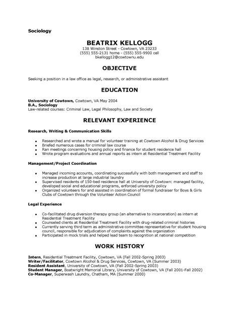 Resume Templates For Sociology Majors Sociology Resume Exles Exles Of Resumes