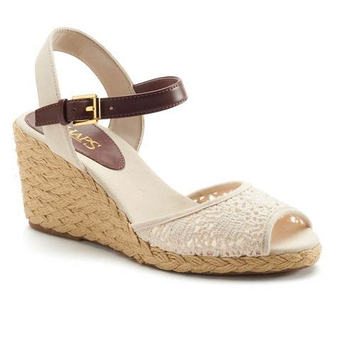 chaps damara womens shoes heels beige wedge sandals woven