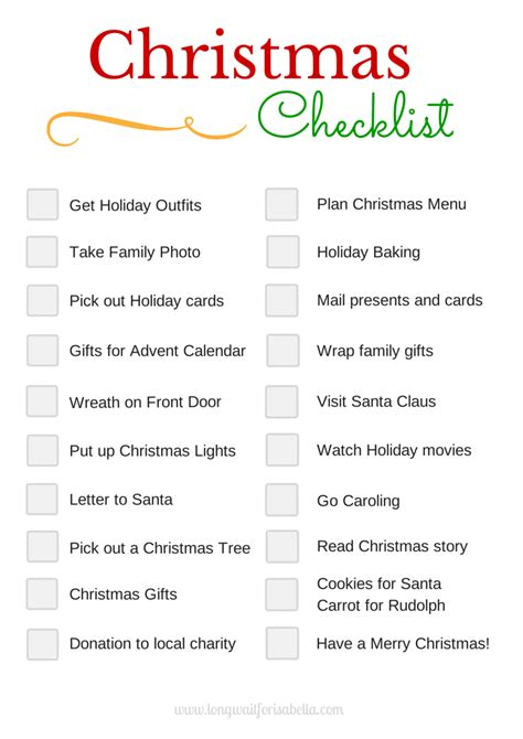 preparation of christmas pdf printable checklist wait for