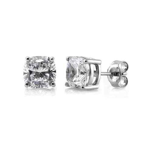 berricle sterling silver cushion cut cz solitaire stud earrings ebay
