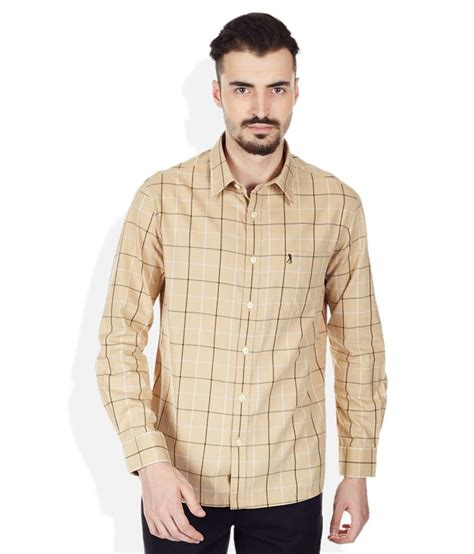 Polo Shirt Burnt Umber Light Yellow burnt umber yellow checks shirt buy burnt umber yellow checks shirt at low price in