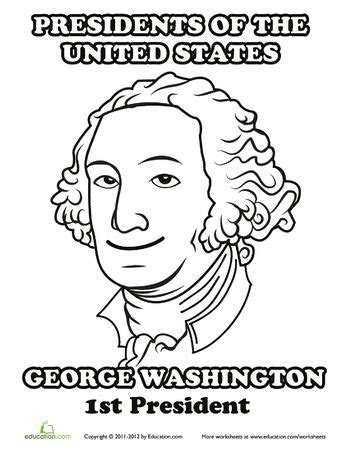 coloring page for george washington us presidents george washington and worksheets on pinterest