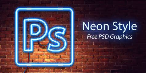 Neon Style Psd Template Bypeople Neon Sign Photoshop Template