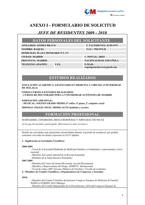 Modelo Curriculum Vitae Residente Proyecto Jefe Residentes Hulp 2009 2010