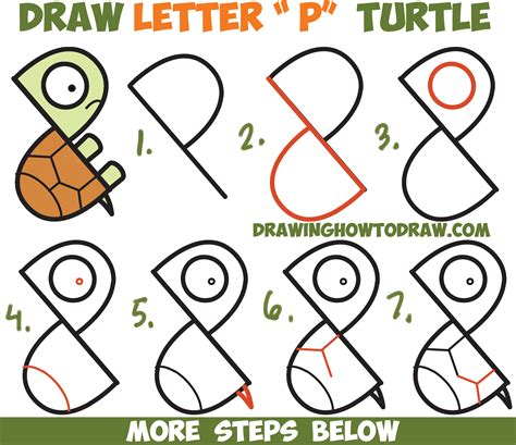 Letter Drawing how to draw a turtle from letter quot p quot shapes