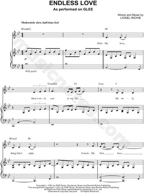 tutorial piano endless love glee cast quot endless love quot sheet music in bb major