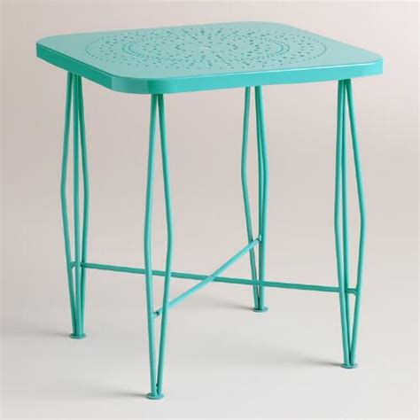 Blue Patio Table by Outdoor Metal Table