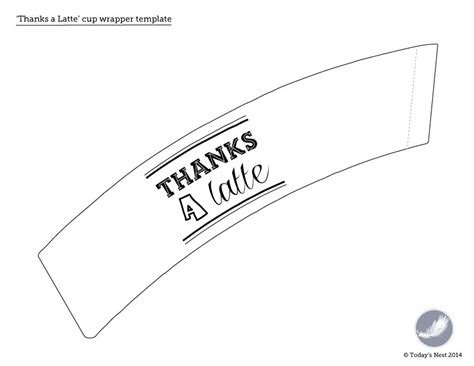 coffee cup wrapper template saying thanks after the holidays printable thank you