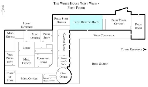 white house press briefing room file white house west wing 1st floor with the press briefing room highlighted jpg