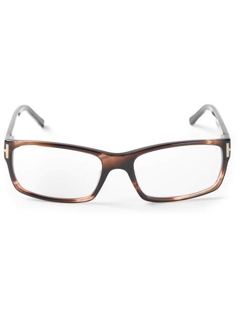 tom ford glasses mens tom ford rectangular glasses in brown for lyst