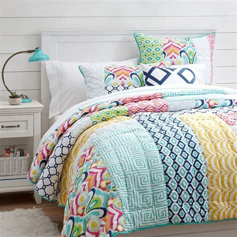 pbteen bedding palm springs patchwork quilt sham pbteen