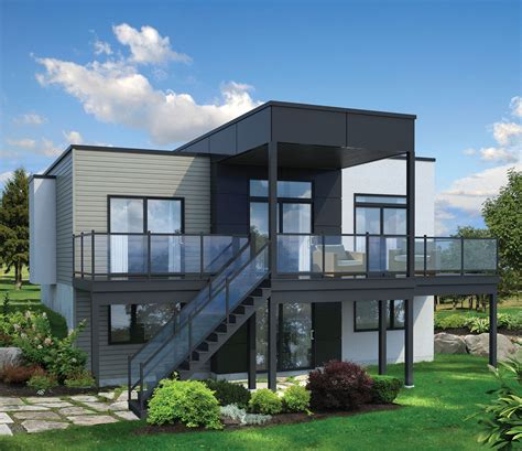 Lake House Plans For Narrow Lots by 2 Bed Modern House Plan For Sloping Lot 80780pm