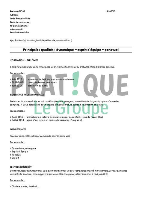 Modèle De Lettre De Demande D Emploi Saisonnier Resume Format Modele De Cv Gratuit Pour D Ete