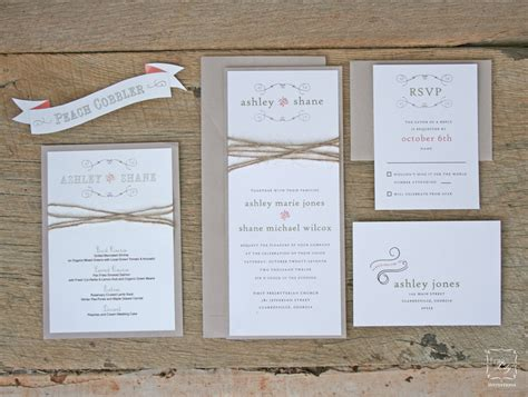 Wedding Invitation Stationery Sets by Rustic Twine Wedding Invitation Set Sle