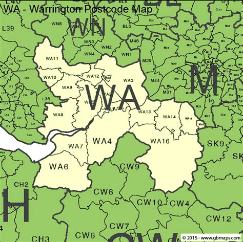map of warrington warrington postcode area and district maps in editable format